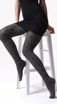 C03 collant: 220 den viscosa con pois nero