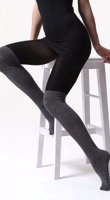 C06 tights: micro 100 den with a faux knee-high melange viscose sock 220 den